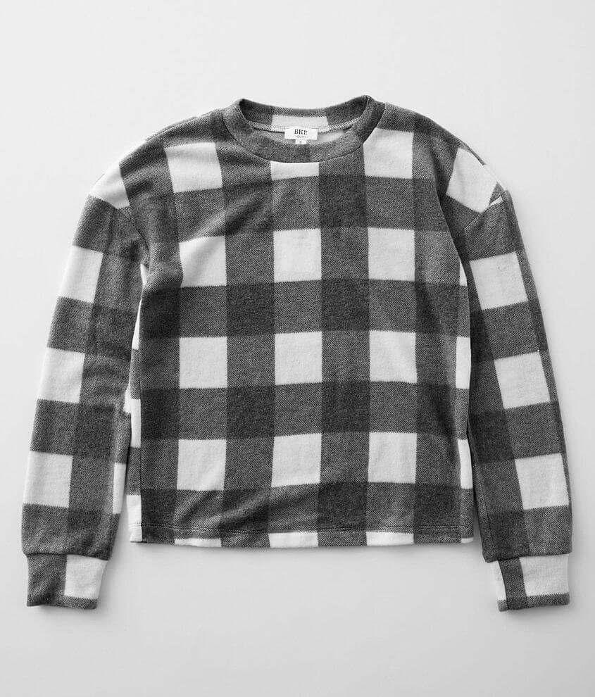 Girls - BKE Brushed Buffalo Plaid Pullover front view