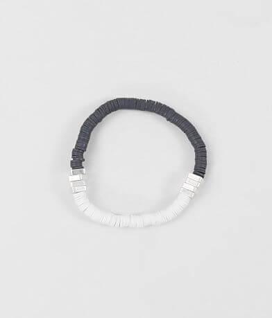 BKE Grey & White Disc Beaded Bracelet