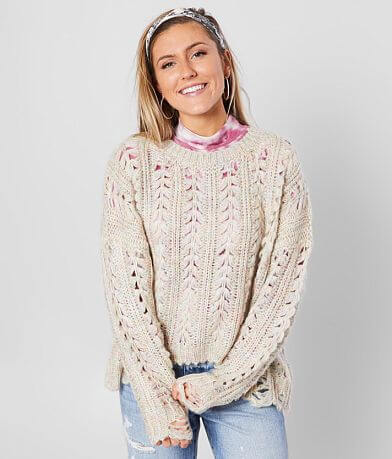 BKE Cable Knit Distressed Pullover Sweater