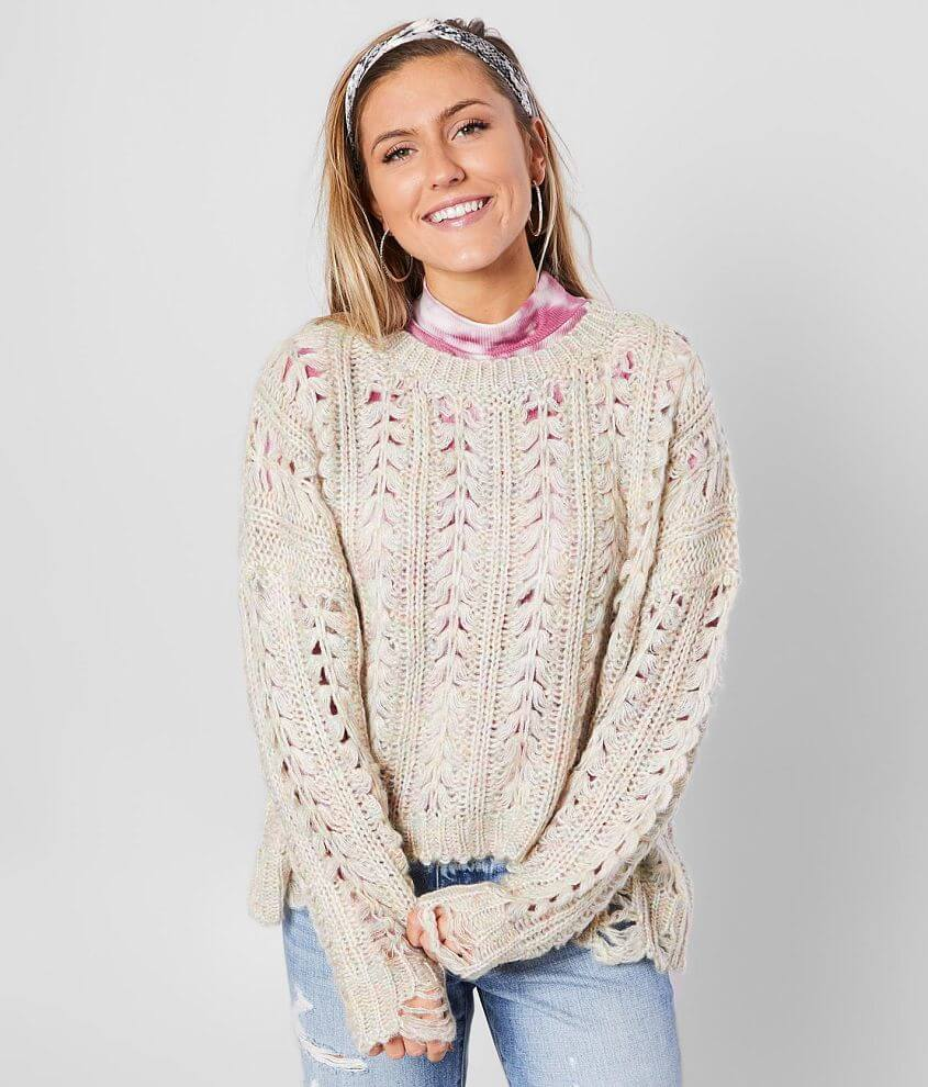 BKE Cable Knit Distressed Pullover Sweater front view