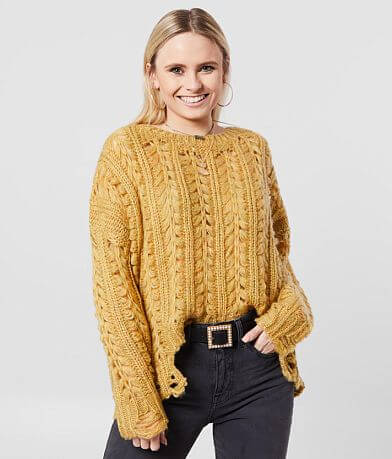 BKE Destructed Open Weave Sweater
