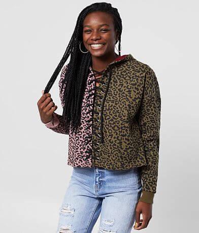 Gilded Intent Cheetah Pieced Hooded Sweatshirt