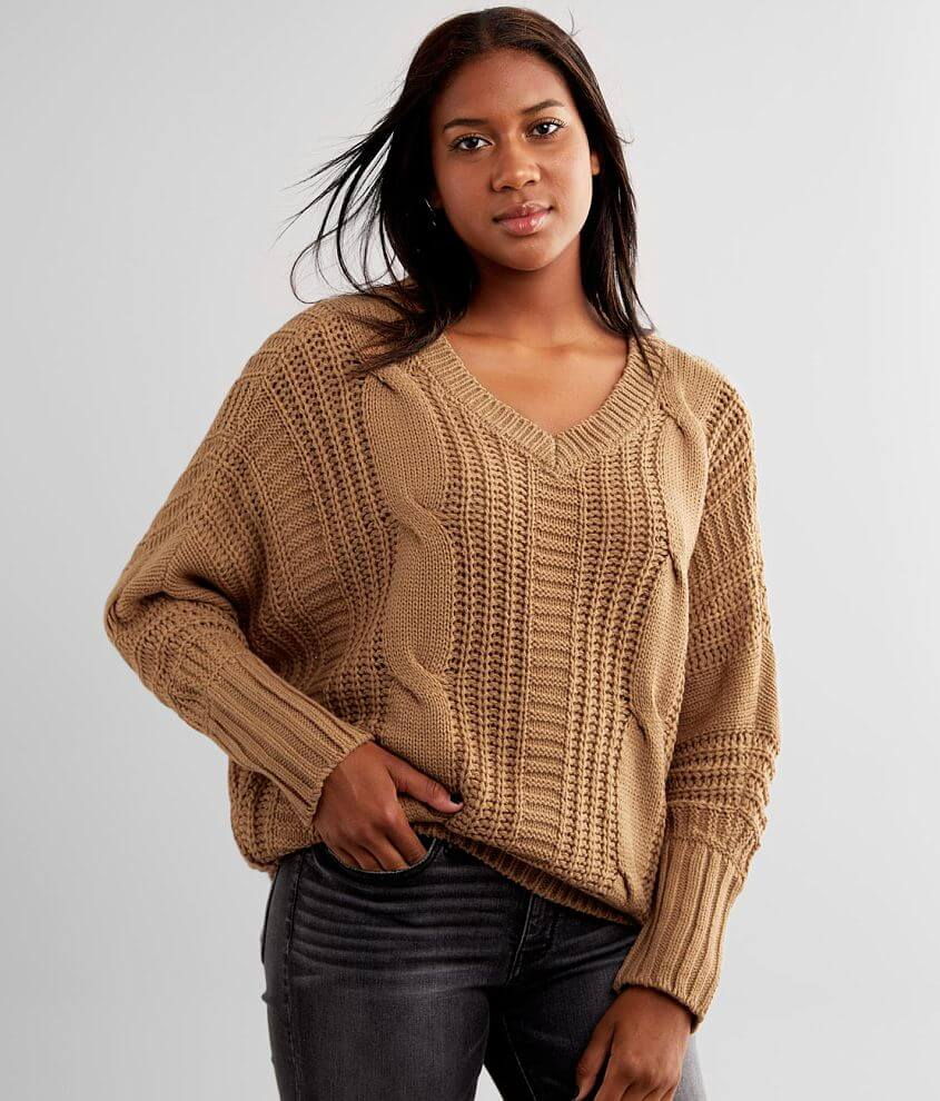 BKE V-Neck Cable Knit Pullover Sweater front view