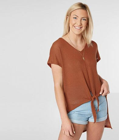 Daytrip Open Weave V-Neck Top