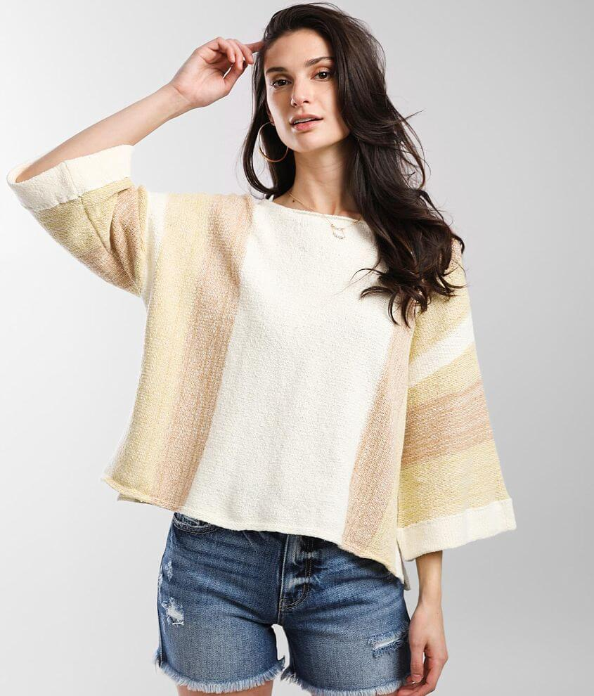 BKE Striped Pullover Sweater front view