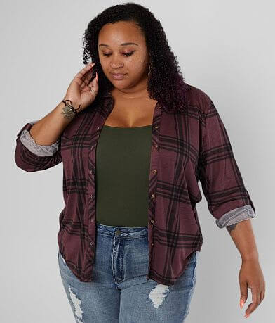 Daytrip Plaid Knit Shirt - Plus Size Only
