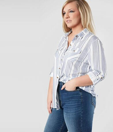 Daytrip Striped Knit Shirt - Plus Size Only