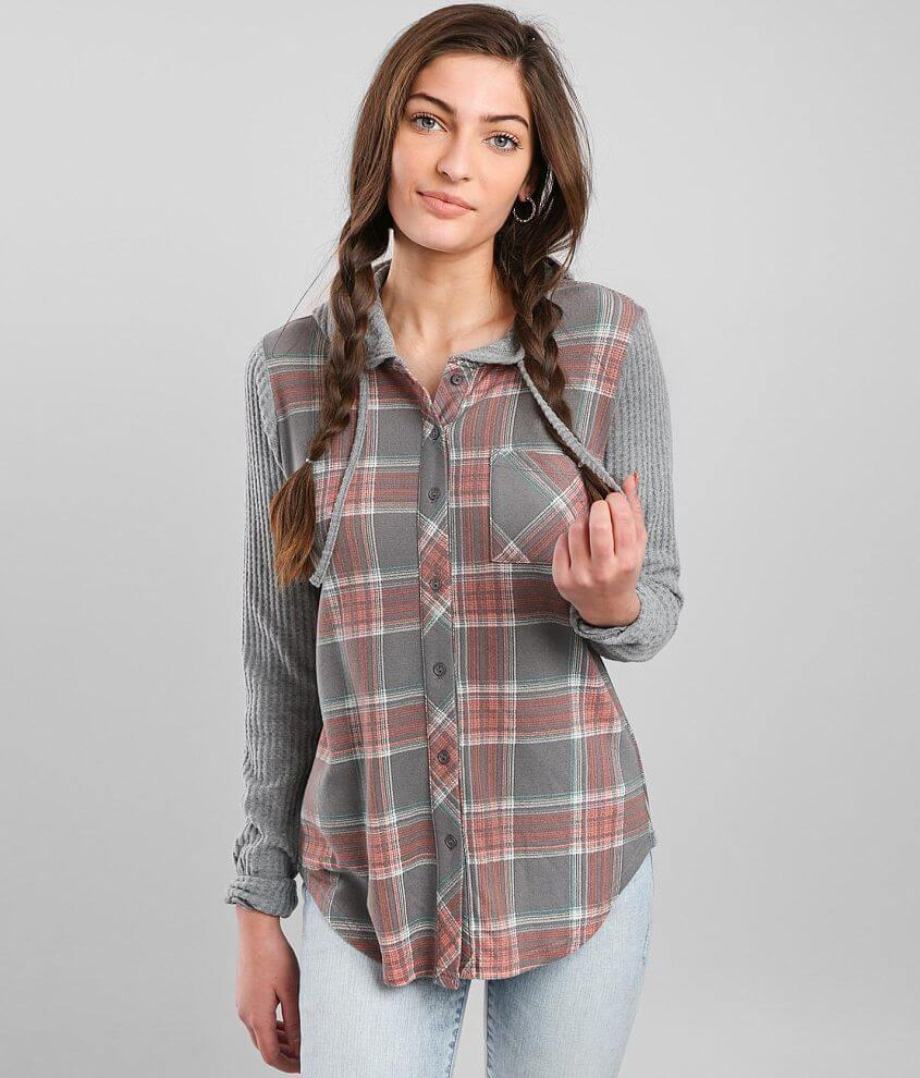 Daytrip Hooded Plaid Shirt front view