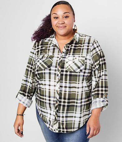 Daytrip Plaid Knit Top - Plus Size Only