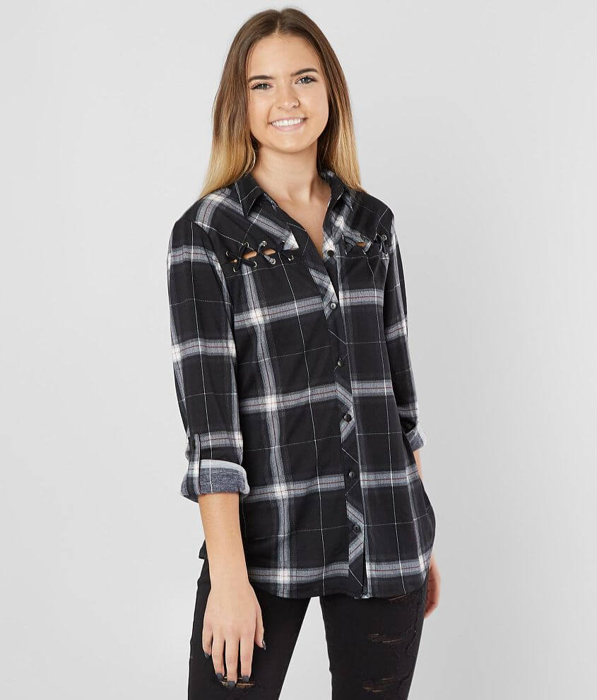 b232ceff Daytrip Knit Plaid Shirt - Women's Shirts/Blouses in Black | Buckle