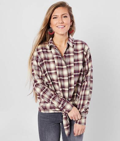 Daytrip Plaid Front Tie Top