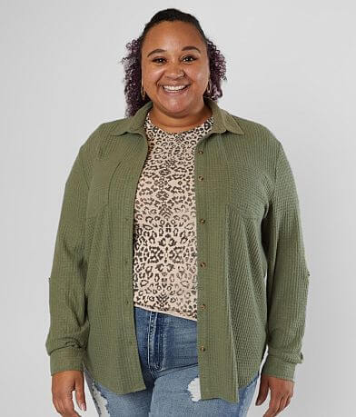 Daytrip Brushed Waffle Knit Top - Plus Size Only
