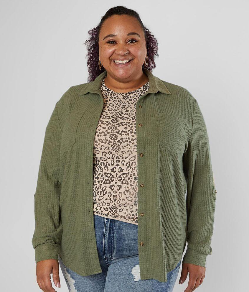 Daytrip Brushed Waffle Knit Top - Plus Size Only front view