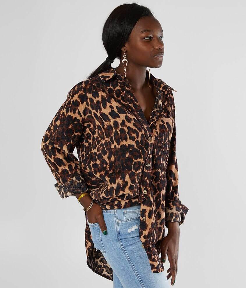 Gilded Intent Cheetah Corduroy Tunic Shirt front view