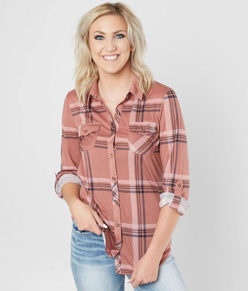 40504fc0 Daytrip Plaid Shirt - Women's Shirts/Blouses in Mauve Black | Buckle