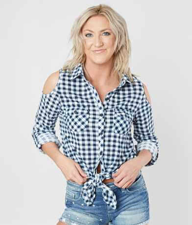 Daytrip Gingham Cold Shoulder Shirt