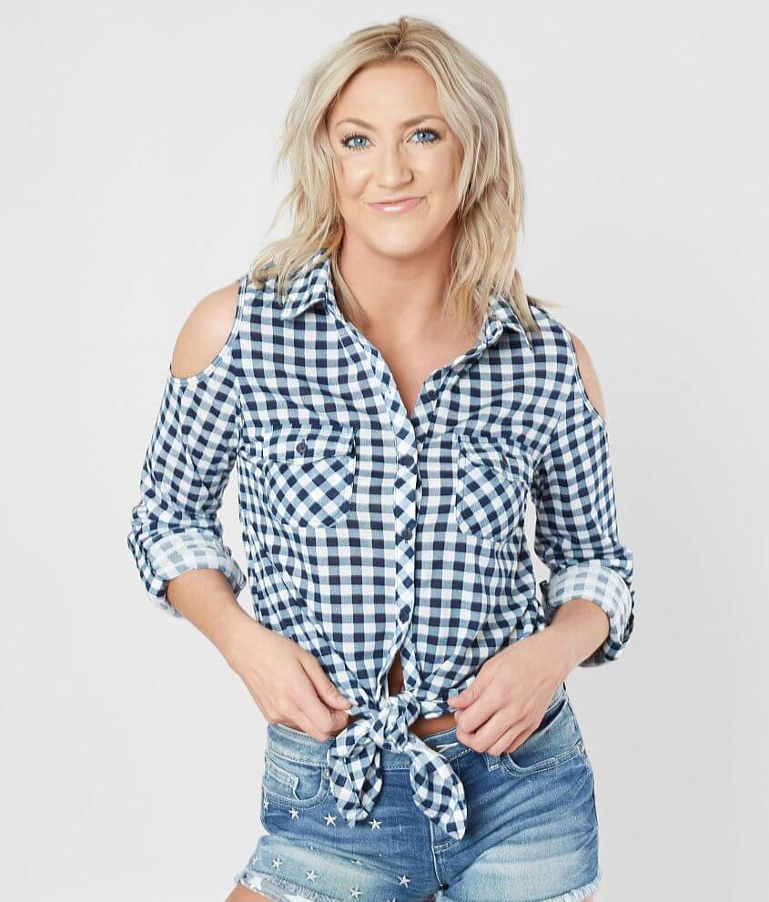 5882ea354a03a Daytrip Gingham Cold Shoulder Shirt - Women s Shirts Blouses in ...