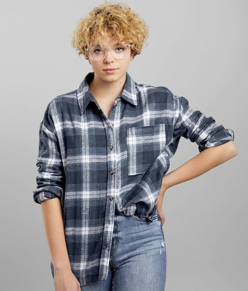 FITZ + EDDI Oversized Flannel Shirt front view