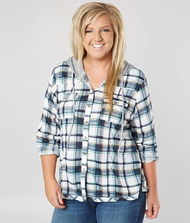 Daytrip Hooded Plaid Shirt - Plus Size Only