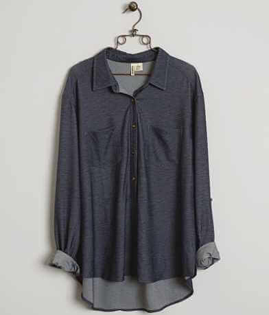 Passport Knit Denim Shirt - Plus Size Only