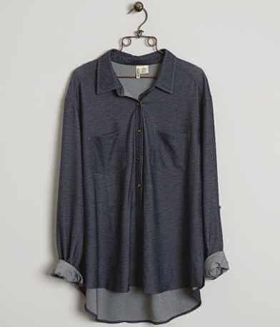 Passport Knit Denim Shirt - Plus Size Only