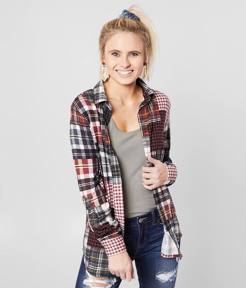 Daytrip Patch Plaid Knit Shirt front view