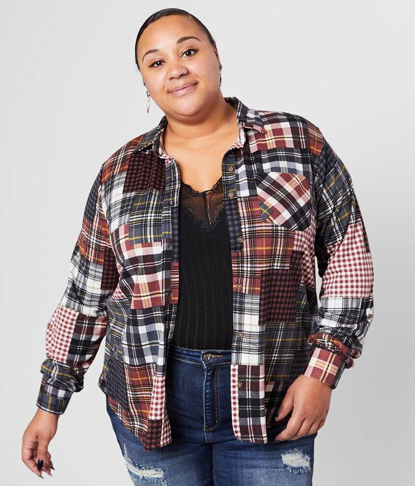 Daytrip Patch Plaid Knit Shirt - Plus Size Only front view