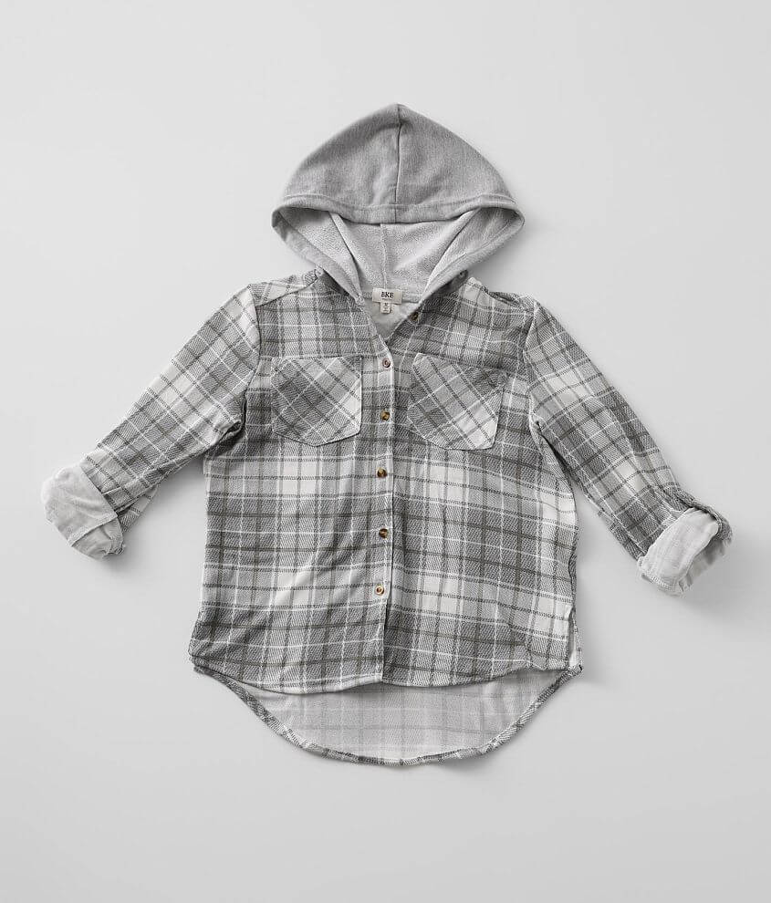 Girls - BKE Hooded Flannel Shirt front view