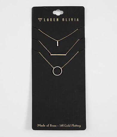 Loren Olivia Plated Brass Necklace Set
