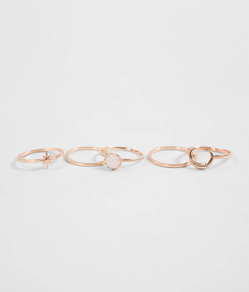 Set of five rings Crescent setting measures 3/8\\\
