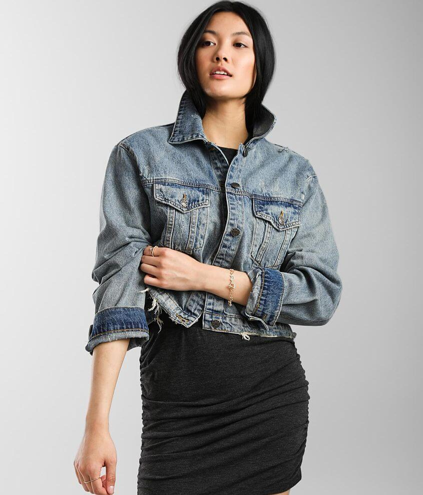 Mustard Seed Cropped Denim Jacket front view