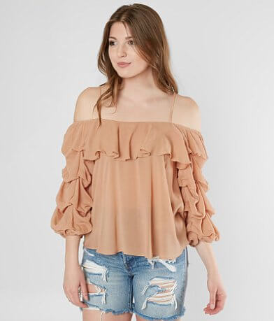 Mustard Seed Cold Shoulder Ruffle Top