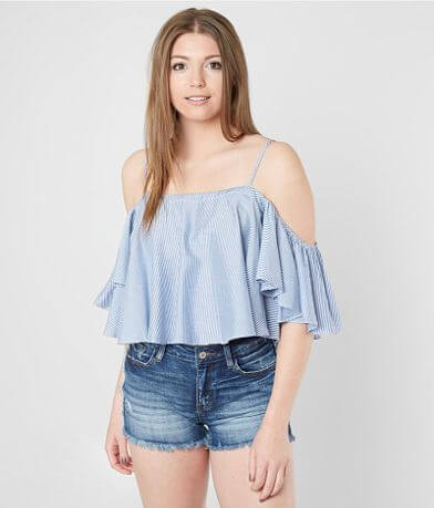 Mustard Seed Cold Shoulder Cropped Top