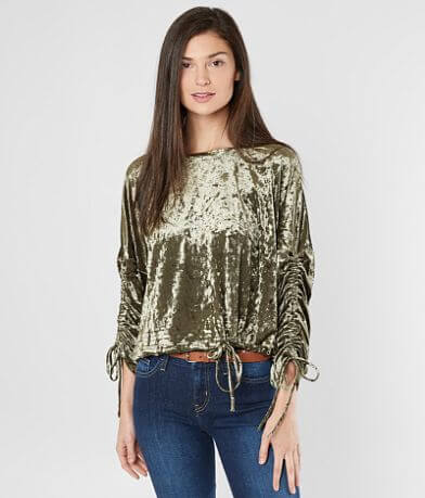 Mustard Seed Crushed Velvet Cropped Top