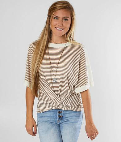 Mustard Seed Striped Semi-Sheer Top