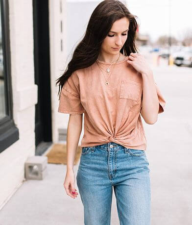 Mustard Seed Twisted Hem T-Shirt