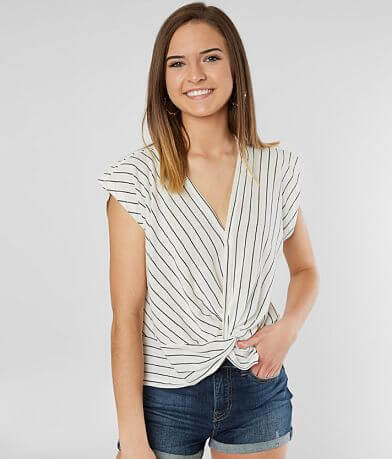 Mustard Seed Twisted Hem Surplice Top