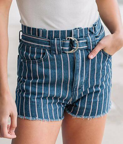 Mustard Seed Striped High Rise Belted Short