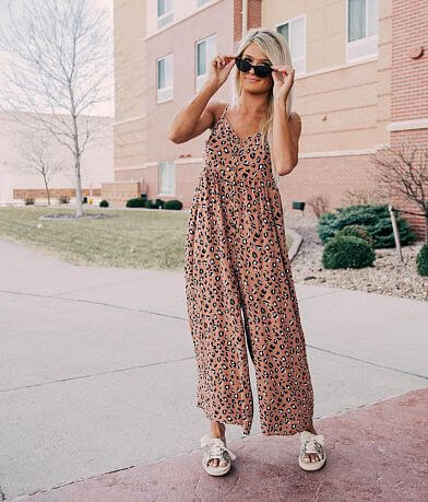 Mustard Seed Animal Print Wide Leg Jumpsuit
