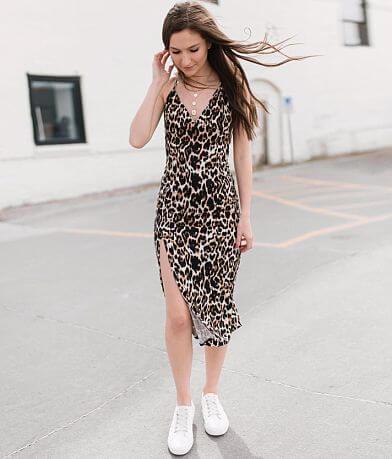 Mustard Seed Leopard Print Midi Dress