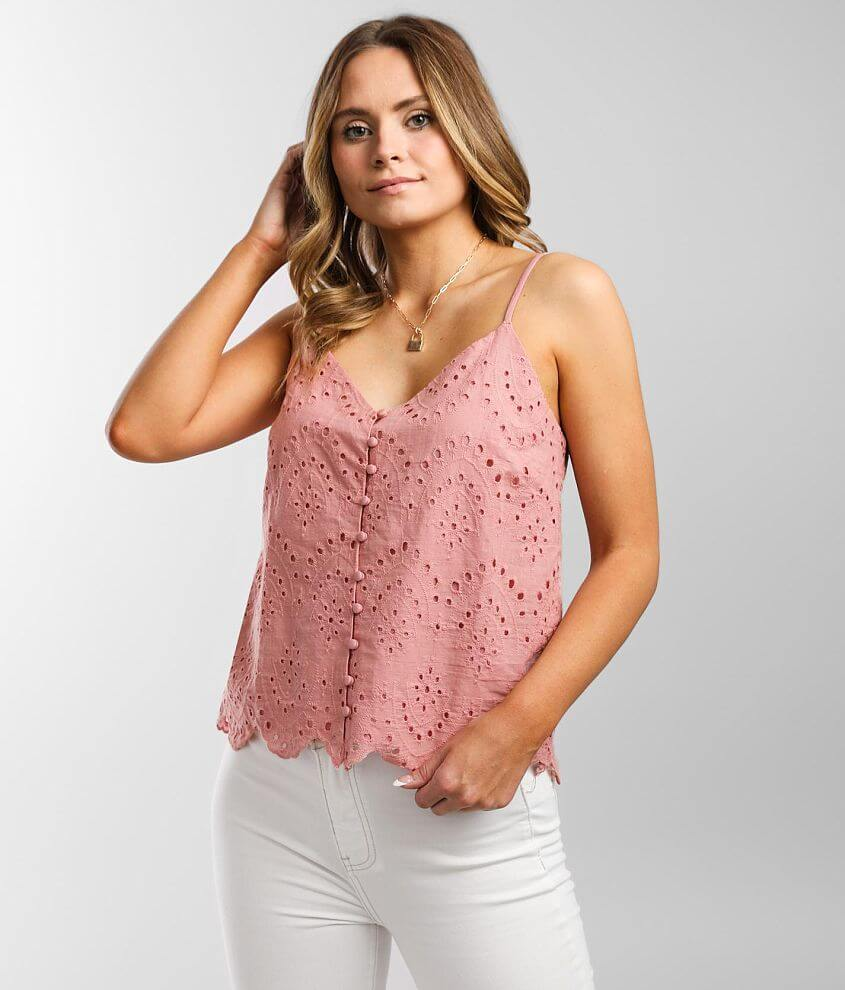 Mustard Seed Woven Eyelet V-Neck Tank Top front view