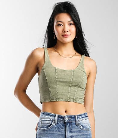 Mustard Seed Scoop Neck Cropped Tank Top