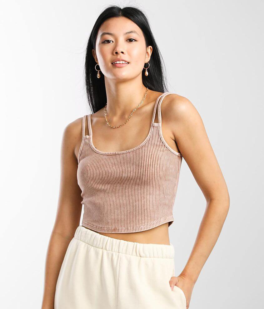 Mustard Seed Ribbed Scoop Neck Cropped Tank Top front view