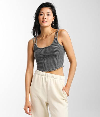 Mustard Seed Ribbed Scoop Neck Cropped Tank Top