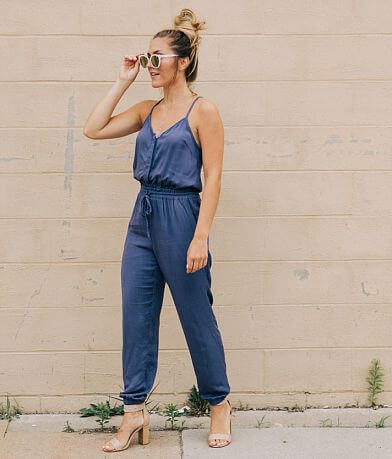 Mustard Seed Solid Woven Jumpsuit
