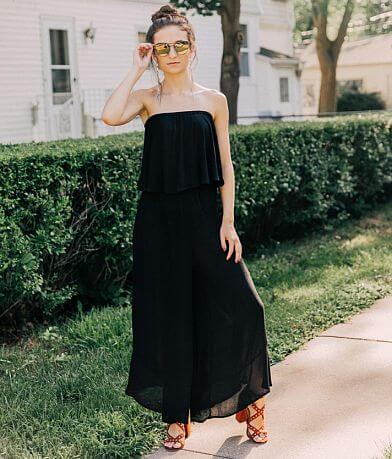 Mustard Seed Strapless Wide Leg Jumpsuit