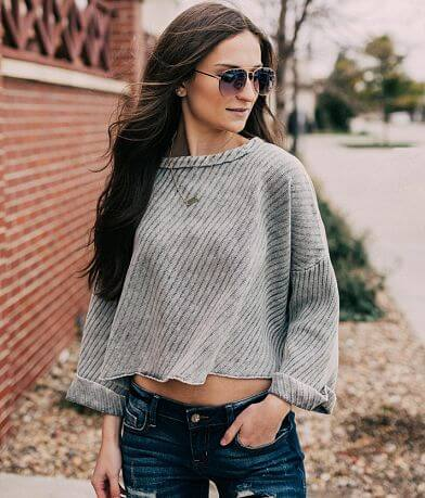 Mustard Seed Bat Wing Cropped Sweater