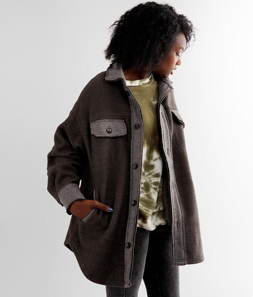 BKE Oversized Fleece Knit Pieced Shacket front view