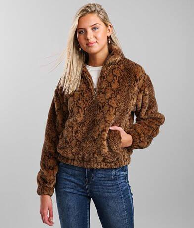Oli & Hali Snake Print Fuzzy Fleece Jacket