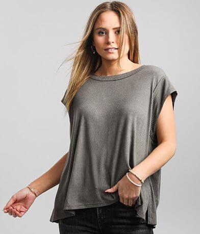 BKE Raw Edge Ribbed T-Shirt